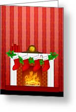 Fireplace Christmas Decoration Wth Stockings And Wallpaper Greeting Card