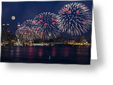 Fireworks And Full Moon Over New York City Greeting Card