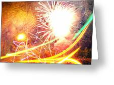 Fireworks As A Painting Greeting Card