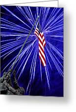 Fireworks At Iwo Jima Memorial Greeting Card by Francesa Miller