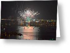 Fireworks At Night For The 4th Of July Over Fort Walton Beach From 14th Floor Balcony Greeting Card