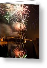 Fireworks Exploding Over Salem's Friendship Greeting Card