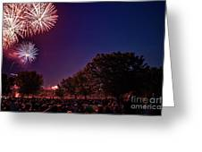 Fireworks In St. Charles Greeting Card by Cindy Tiefenbrunn