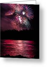 Fireworks In The Country - Pink Greeting Card by Justin Martinez