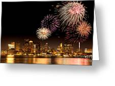 Fireworks Over Boston Harbor Greeting Card