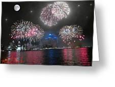 Fireworks Over Detroit Greeting Card