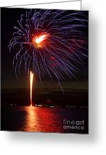 Fireworks Over Lake Greeting Card by Raymond Earley