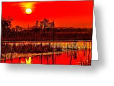 Firey Dawn Over The Marsh Greeting Card