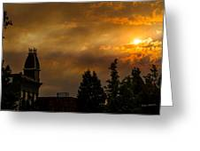Firey Sunset Over Grants Pass Greeting Card