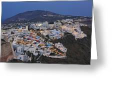 Firostefani At Night Santorini Cyclades Greece  Greeting Card