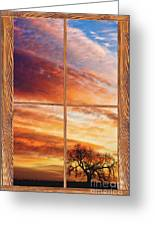 First Dawn Barn Wood Picture Window Frame View Greeting Card