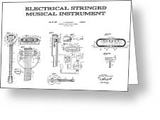 First Electric Guitar Patent Art  1937 Greeting Card