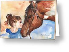 Horse Painting Of Paint Horse And Girl First Kiss Greeting Card