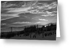 First Light At Cape Cod Beach Bw Greeting Card