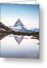First Light On The Summit Of Matterhorn Greeting Card