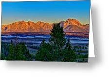 First Light On The Tetons Greeting Card