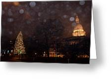 First Snow At Michigan State Capital Greeting Card