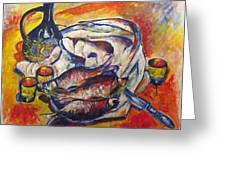 Fish And Wine Greeting Card