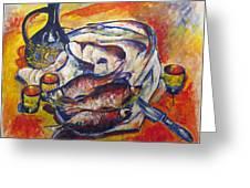 Fish And Wine Greeting Card by Vladimir Kezerashvili