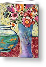 Fish Bowl And Posies Greeting Card by Diane Fine