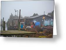 Fish House In Fog Greeting Card