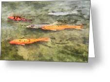 Fish - School Of Koi Greeting Card by Susan Savad