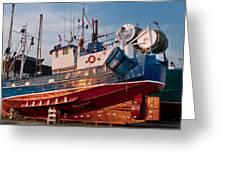 Fish Trawler On Land Greeting Card