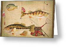 Fish Trio-a-basket Weave Border Greeting Card