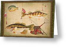 Fish Trio-a-greenborder Greeting Card by Jean Plout