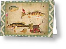 Fish Trio-b-ikat Greeting Card by Jean Plout