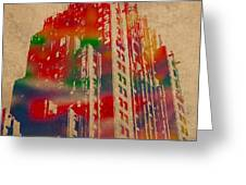 Fisher Building Iconic Buildings Of Detroit Watercolor On Worn Canvas Series Number 4 Greeting Card by Design Turnpike