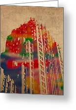 Fisher Building Iconic Buildings Of Detroit Watercolor On Worn Canvas Series Number 4 Greeting Card