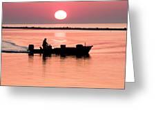 Fisherman At Sunrise Apalachicola Bay Florida  Greeting Card by Bill Swindaman