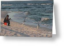 Fisherman At The Beach Greeting Card