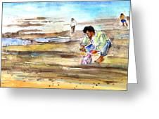 Fisherman On Las Canteras Beach Greeting Card