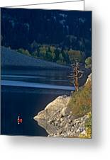 Fisherman On Lundy Lake Eastern Sierras California Greeting Card