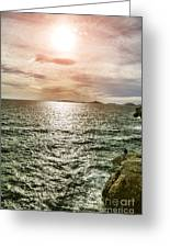 Fisherman On The Cliff At Sunset Greeting Card