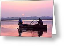 Fisherman On The Ganges River At Varanasi Greeting Card