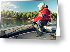 Fisherman Sitting On Foredeck Greeting Card