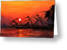 Fisherman Sunset In Kerala-india Greeting Card