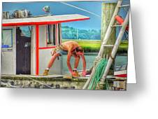 Fisherman Working On His Boat Greeting Card