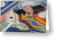 Fishermans Cottages String Collage Greeting Card