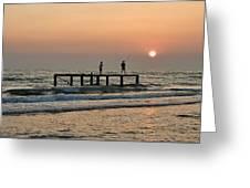 Fishermen At Sunset. Greeting Card by Alexandr  Malyshev