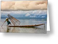 Fishermen In The Inle Lake. Myanmar Greeting Card