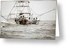 Fishermen Reel In Line From The Back Greeting Card