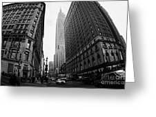 fisheye shot View of the empire state building from West 34th Street and Broadway junction Greeting Card