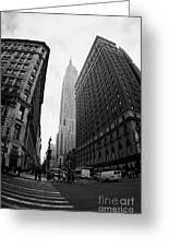 fisheye shot View of the empire state building from West 34th Street and Broadway new york usa Greeting Card