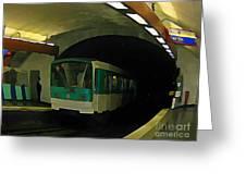 Fisheye View Of Paris Subway Train Greeting Card