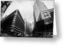 Fisheye View Of The Herald Square Building And Cross Walks Over Broadway New York Greeting Card