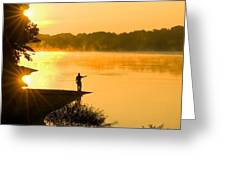 Fishing At Sunrise Greeting Card